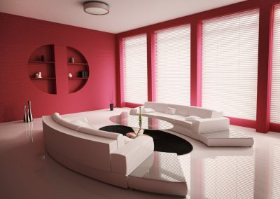 Living room with white sofas interior 3d render