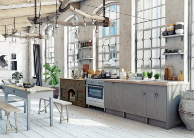 Attic loft kitchen interior.