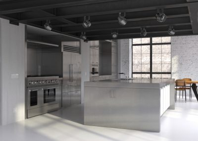 Modern steel kitchen in industrial loft