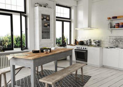 Küche im Landhausstil mit 2 Fenstern